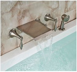 Gowe Brushed Nickel Bathtub Faucet Wall Mount Waterfall Mixer Tap with Hand Shower