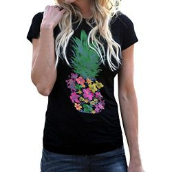 Lywey Pineapple Printing T Shirt, Short Sleeve Breathable O-Neck Pencil Sihouette Top (XL, Black)