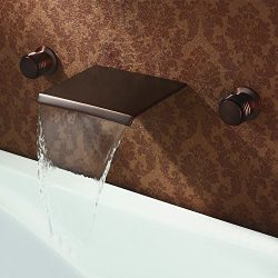 KunMai Waterfall Wall Mounted ORB Bathtub Filler Faucet with Double Handles in Oil Rubbed Bronze