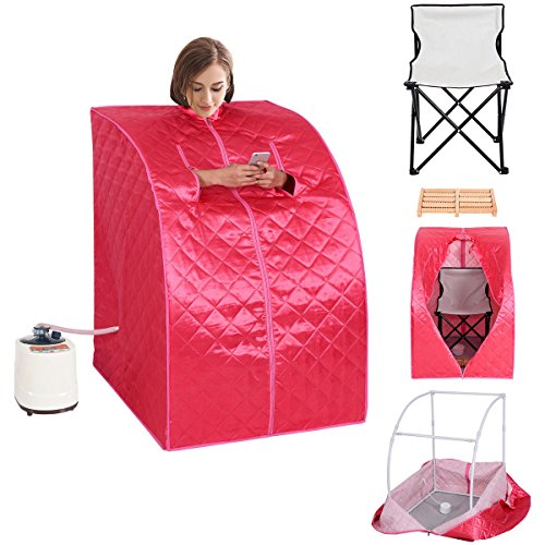Globe House Products GHP Pink 2-Liter Water Capacity 120V Portable Home Steam Sauna with Folding ...