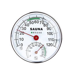 Vogvigo Sauna Thermometer Stainless Steel Case for Steam Sauna Room Thermometer Hygrometer Profe ...