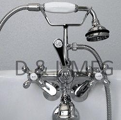 Clawfoot Tub Faucet with Elephant Spout and Hand held Shower Head