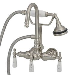 Randolph Morris Wall Mount High Spout Clawfoot Tub Faucet with Handshower Brushed Nickel