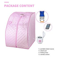 BUY JOY Pink Portable 2L Home Steam Sauna Spa Full Body Slimming Loss Weight Detox Therapy