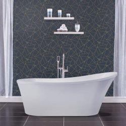 Miseno MNO7035FSO 70″ Oval Free Standing Bathtub with Slipper Back – Reversible, White