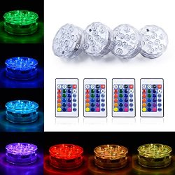 Submersible Led Light Waterproof Lights Hookah Light Base Remote Controlled Battery Powered Unde ...