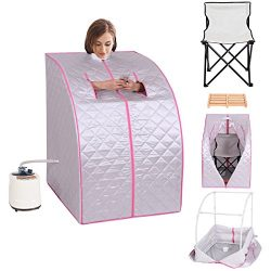 GHP Silver 2-Liter Water Capacity 120V Portable Home Steam Sauna with Folding Chair