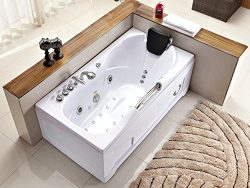 60 Inch White Bathtub Whirlpool Jetted Bath Hydrotherapy 19 Massage Air Jets Inline Heater Showe ...