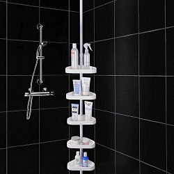 White 5-Basket Bathtub Bathroom Shower Corner Shelf Triangle Wall Shower Caddy Space Shampoo Soa ...