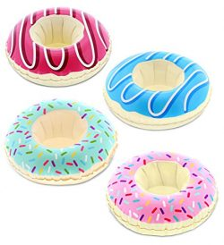 Pool Party – Funny Delectable Frosted Donut Inspired Inflatable Ring Drink Holder – Set of ...
