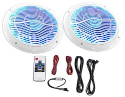 2) Rockville RMC65LW 6.5″ 600w White Waterproof Hot Tub Speakers w/ LED's+Remote