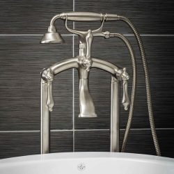 Luxury Clawfoot Tub or Freestanding Tub Filler Faucet, Vintage Design with Telephone Style Hand  ...