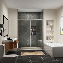SUNNY SHOWER BP04P4 Frameless Sliding Doors, 1/4″ Glass, Brushed Nickel Finish