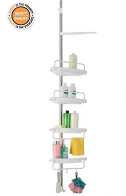 ALLZONE Constant Tension Corner Shower Caddy, Stainless Steel Pole, Rustproof, Strong and Sturdy ...