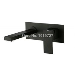 HYY@ Square Black Style Bath Shower Bathtub Wall Sink Basin Mixer Tap Wels Bathroom Vanity Spout ...