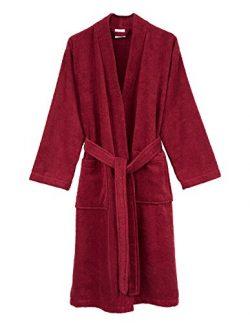 TowelSelections Men's Robe, Turkish Cotton Terry Kimono Bathrobe Small/Medium Deep Claret
