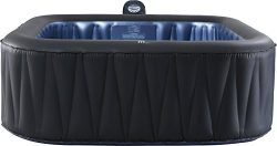 M-SPA MSPA Tekapo Relaxation and Hydrotherapy 6 Person Square Portable Inflatable Hot Tub Bubble ...