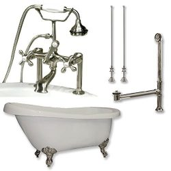 67″ Acrylic Slipper Clawfoot Tub & Brushed Nickel Complete Deck Mount Plumbing Package ...
