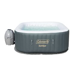 Coleman SaluSpa 4 Person Portable Inflatable Outdoor AirJet Spa Hot Tub, Gray