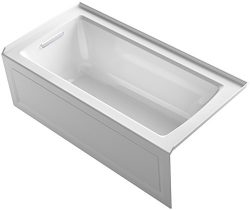 KOHLER K-1946-LA-0 Alcove Bath with Integral Apron, Tile Flange and Left Hand Drain, 60″ x ...