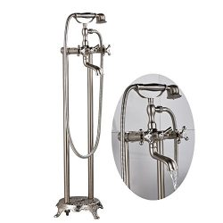 Senlesen Brushed Nickel Free Standing Floor Mounted Bathtub Faucet Dual Knobs Mixer Tap with Han ...