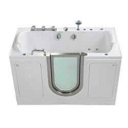 Companion Acrylic Hydro+Air Massage+Heated Seat Walk-In Bathtub Inward Swing Door, Fast Fill Fau ...
