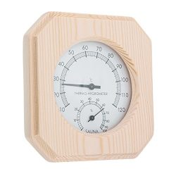 HITSAN Single Sauna Accessory Wooden Hygrothermograph Thermometer Hygrometer Sauna Room One Piece