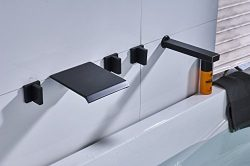 Rozin Wall Mounted Widespread 5 Holes Waterfall Bathtub Faucet with Handheld Shower Set Oil Rubb ...