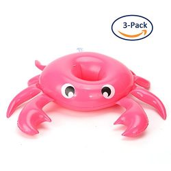 Inflatable Pool Drink Holders Floating Coasters,Set of 3 – Cute Crab Cup Floaties,Perfect  ...