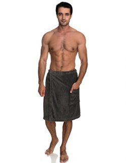 TowelSelections Men's Wrap, Shower & Bath, Terry Velour Towel Small/Medium Smoked Pearl