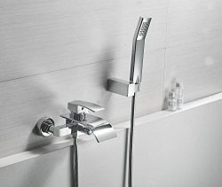 Greenspring Waterfall Wall Mount Bathtub Faucet With Shower Head Bath Tub Mixer Taps Lavatory Ba ...