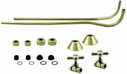 Westbrass 1/2″ Copper Stops & Double Offset Bath Supply with Cross Handles, Polished B ...