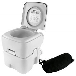 SereneLife Portable Toilet – Porta Potty Seat with Bellows Pump Flush, Cover and 5.3 Gallo ...