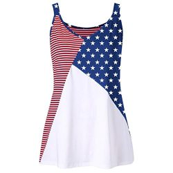 Lywey Summer 2018 Fashion Women American Flag Print Striped Stars O-Neck Tank Tops Shirt Blouse  ...