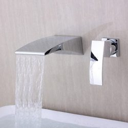 BL Modern retro Contemporary Wall-mounted Waterfall Chrome Finish Curve Spout Bathroom Faucet,Ba ...