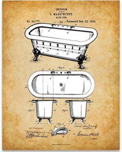 Clawfoot Bathtub Art Print – 11×14 Unframed Patent Print – Great Gift for Bathr ...