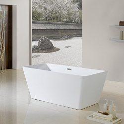 MAYKKE Burbank 66″ Modern Sloped Acrylic Bathtub | Rectangular Freestanding White Tub in B ...