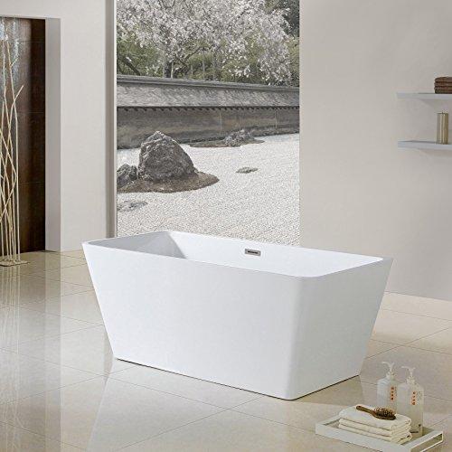 "Bathroom Remodel Burbank: MAYKKE Burbank 66"" Modern Sloped Acrylic Bathtub"