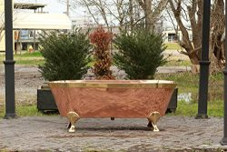"""66"""" Large Antique Inspired Freestanding Natural Copper Double Ended Clawfoot Bathtub, Brass Acce ..."""