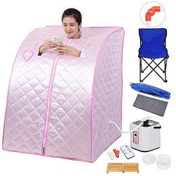 AW Portable Large Chair Pink Personal Therapeutic Steam Sauna SPA Slim Detox Weight Loss Home