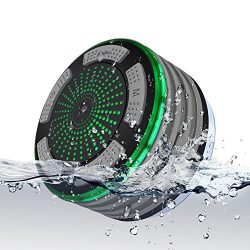 Portable Wireless Bluetooth Speakers, MLCINI Fully IPX7 Waterproof Shower Radios with FM and LED ...