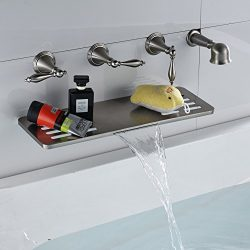 Rozin Widespread 5 Holes Bathtub Faucet Shelf Function Waterfall Spout Mixer Tap with Handheld S ...