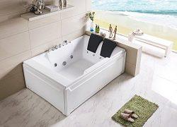 Empava 72″ Luxury 2 Person 177 Gallons SPA Tub Freestanding Jacuzzi Bathtub EMPV-JT367