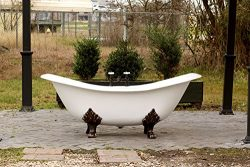 "White Antique Inspired 72"" Cast Iron Porcelain Clawfoot Bathtub 6' Double Slipper Bathtub Packag ..."