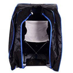 Black Quality Far Infrared FIR Portable Sauna Spa Steam Steamer Folding Chair Foot Massager Foot ...