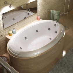 Atlantis Whirlpools 4478pcdl Petite Oval Air & Whirlpool Bathtub, 44 X 78, Center Drain, White