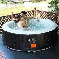 Goplus 6 Person Portable Inflatable Hot Tub for Outdoor Jets Bubble Massage Spa Relaxing w/ Cove ...