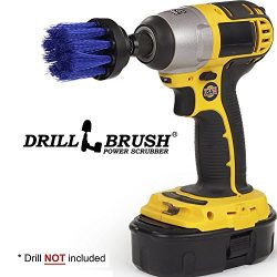 Long Blue Bristle 2 Inch Diameter Medium Stiffness Drill Accessory Brush Attachment for Cordless ...