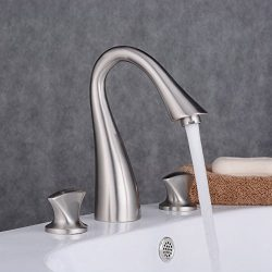 Ollypulse Solid Brass Three Holes Double Knobs High Arc Widespread Bathroom Sink Faucet Brushed  ...