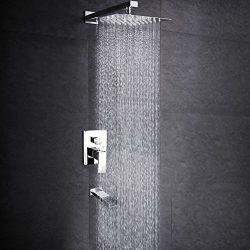 SR SUN RISE Bathroom Luxury Rain Mixer Shower Tub Spout Combo Set Wall Mounted Rainfall Shower H ...
